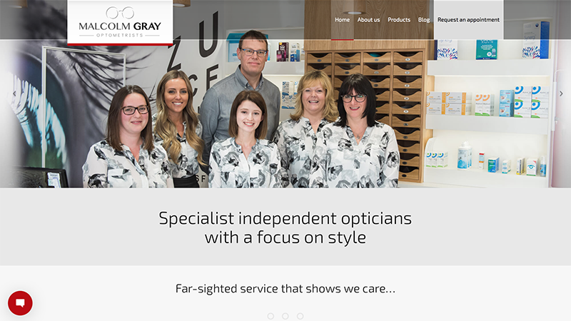 Malcolm Gray Optometrists website and newsletter content