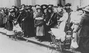 A queue of women in the early 20th century