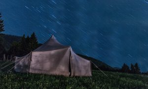Tent in a storm