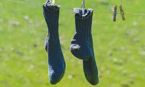 socks on a washing line